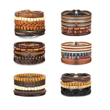 Unisex Woven Leather & Wooden Beaded Bracelets 26-28 Pcs