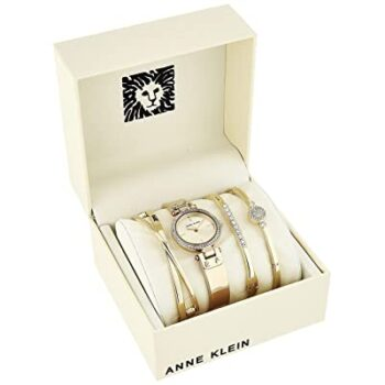 Anne Klein Women's Swarovski Crystal Accented Watch and Bangle Set 1