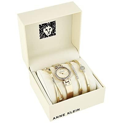 Anne Klein Women's Swarovski Crystal Accented Watch and Bangle Set 1