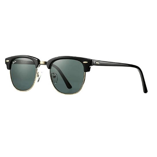 Pro Acme Retro Semi Rimless Frame Sunglasses with 100% Glass Lens