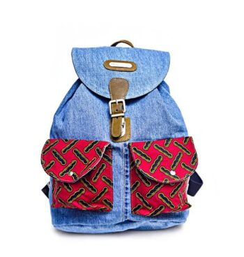Classic Print + Denim Backpack by Suave