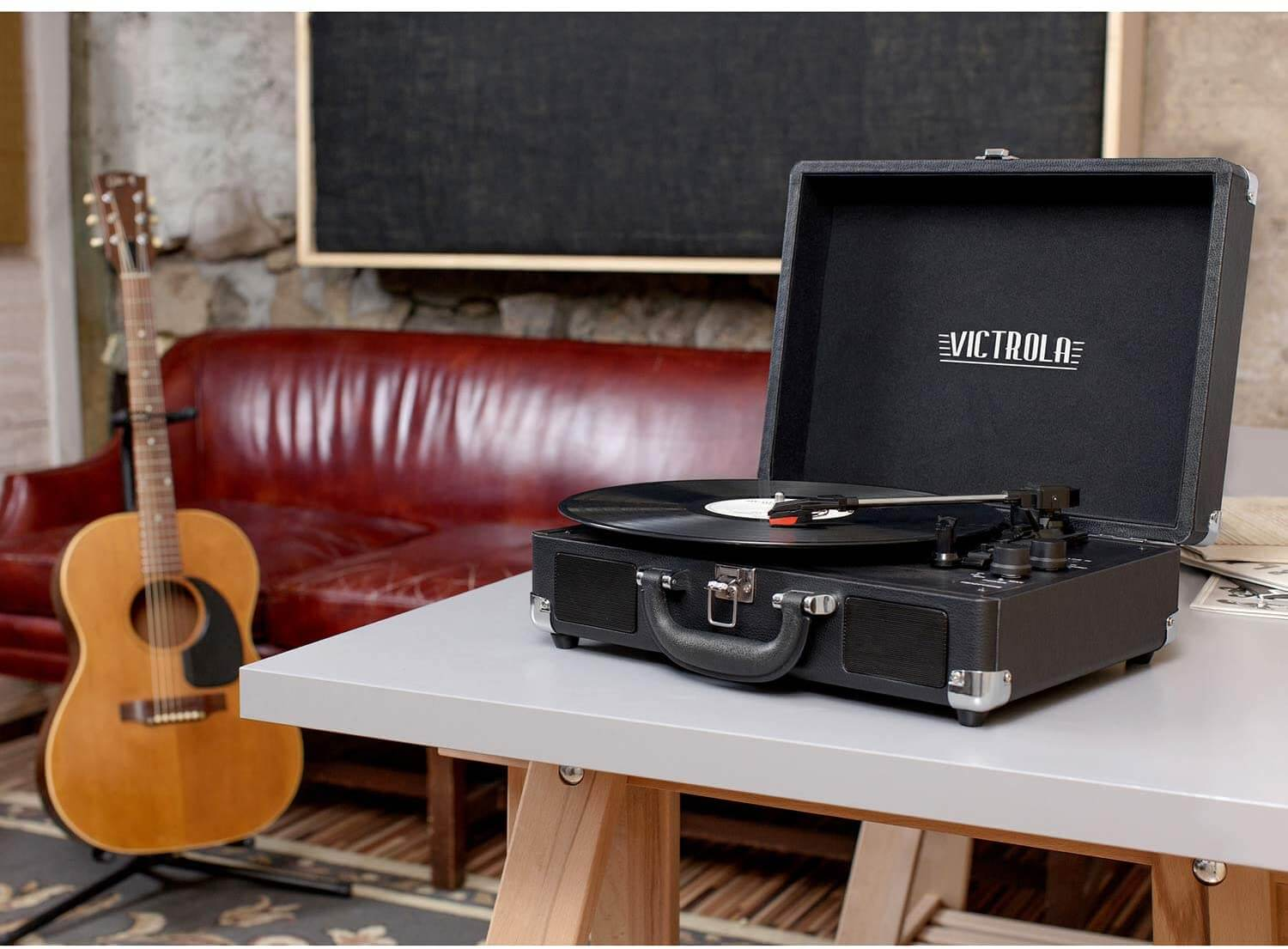 Victrola Vintage 3-Speed Bluetooth Portable Suitcase Record Player with Built-in Speakers