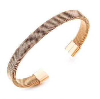 Elastic Adjustable Rose Gold Stainless Steel Mesh Cable Bracelet