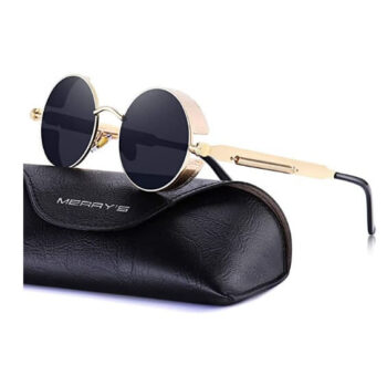 MERRY'S Gothic Steampunk Sunglasses for Women Men Round Lens Gold Frame S567