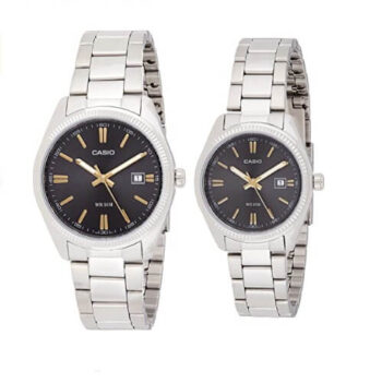 Casio His & Her Black Dial Stainless Steel Band Watch LTP-1302D-1A2